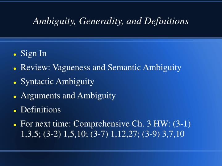 ambiguity generality and definitions n.