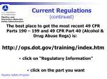 current regulations continued