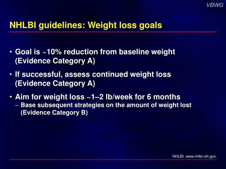 NHLBI guidelines: Weight loss goals