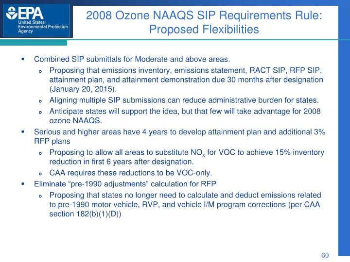 2008 Ozone NAAQS SIP Requirements Rule: Proposed Flexibilities
