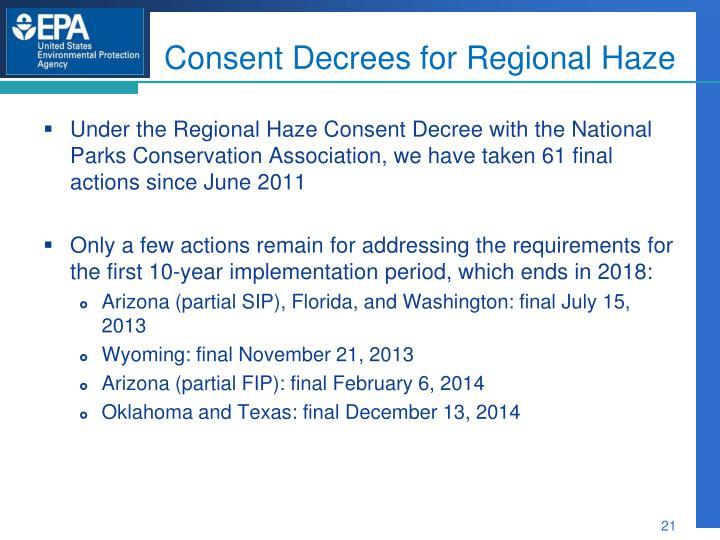 Consent Decrees for Regional Haze