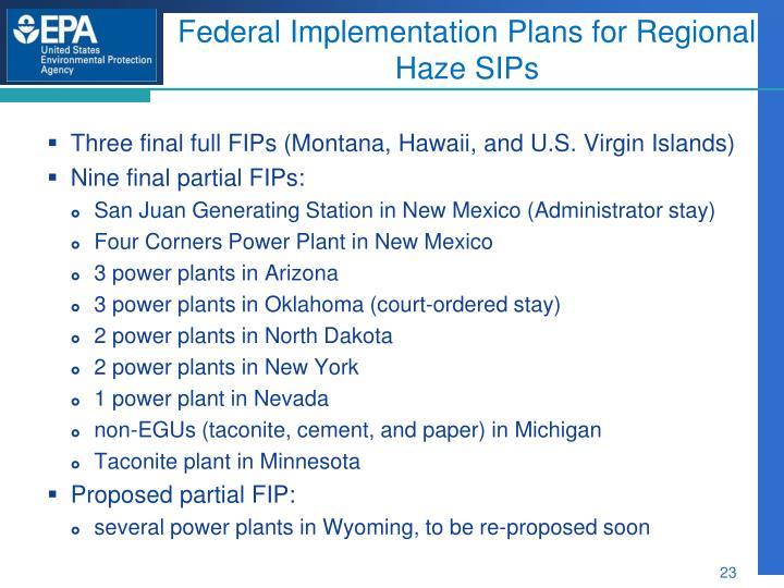 Federal Implementation Plans for Regional Haze SIPs