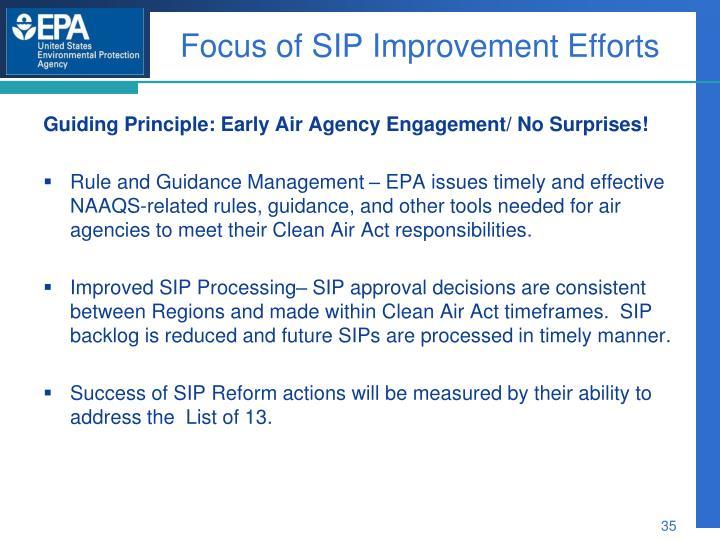 Focus of SIP Improvement Efforts