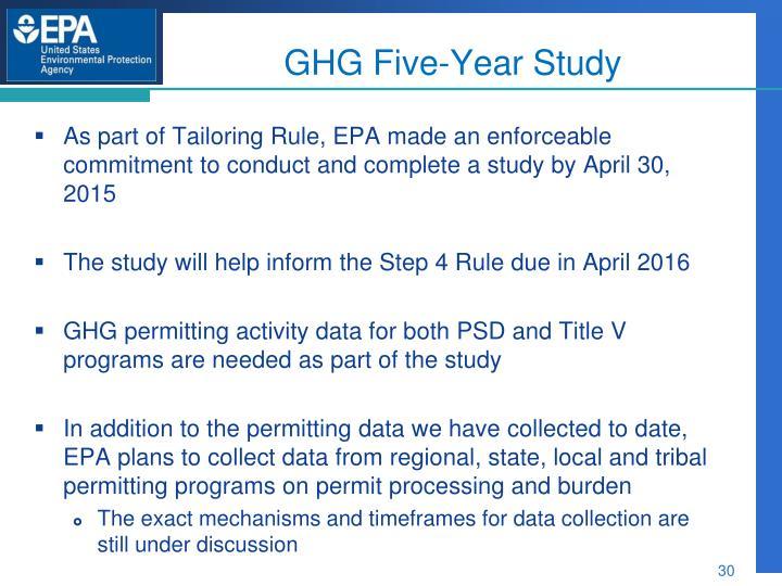 GHG Five-Year Study