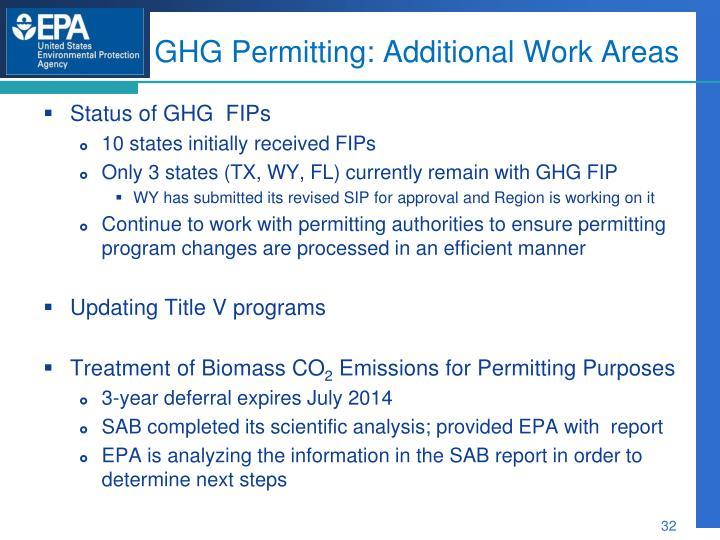GHG Permitting: Additional Work Areas