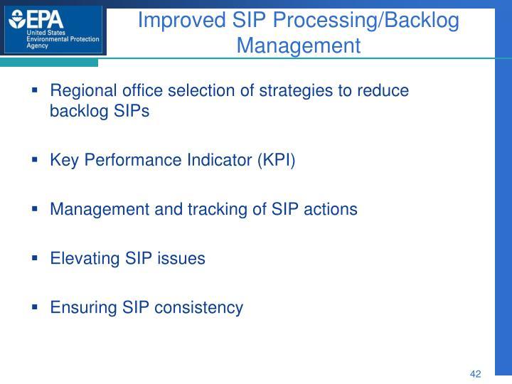 Improved SIP Processing/Backlog Management