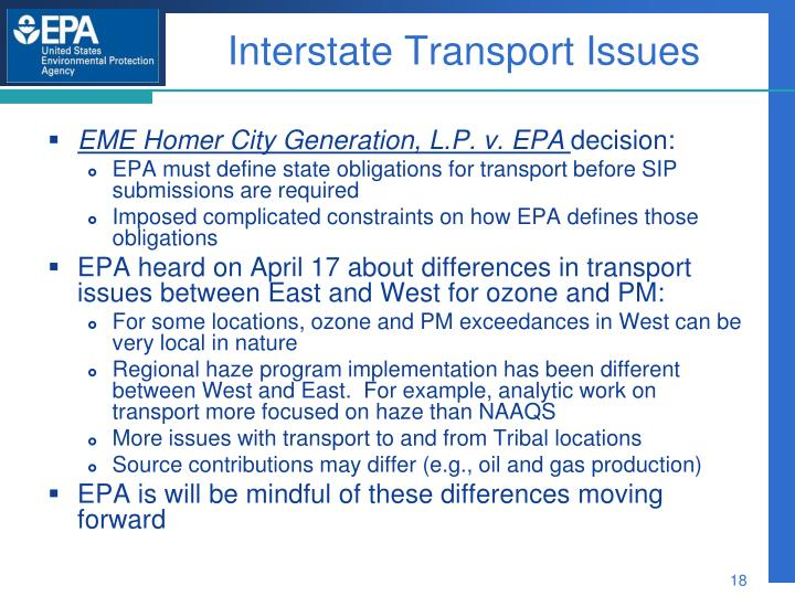 Interstate Transport Issues
