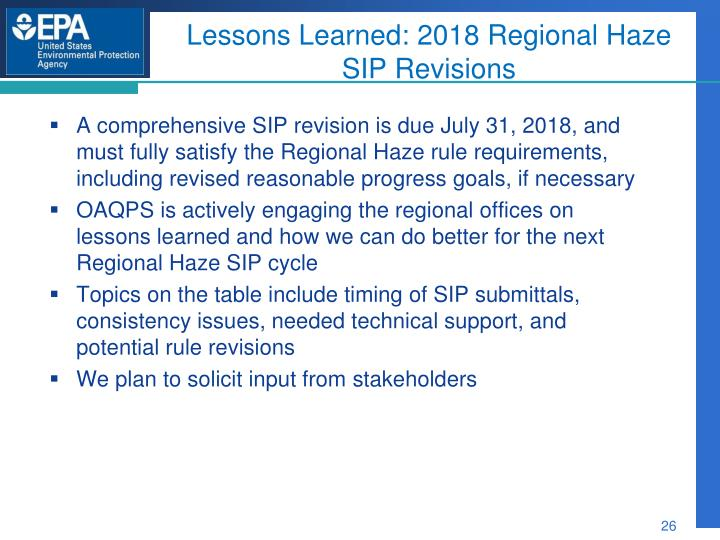 Lessons Learned: 2018 Regional Haze SIP Revisions