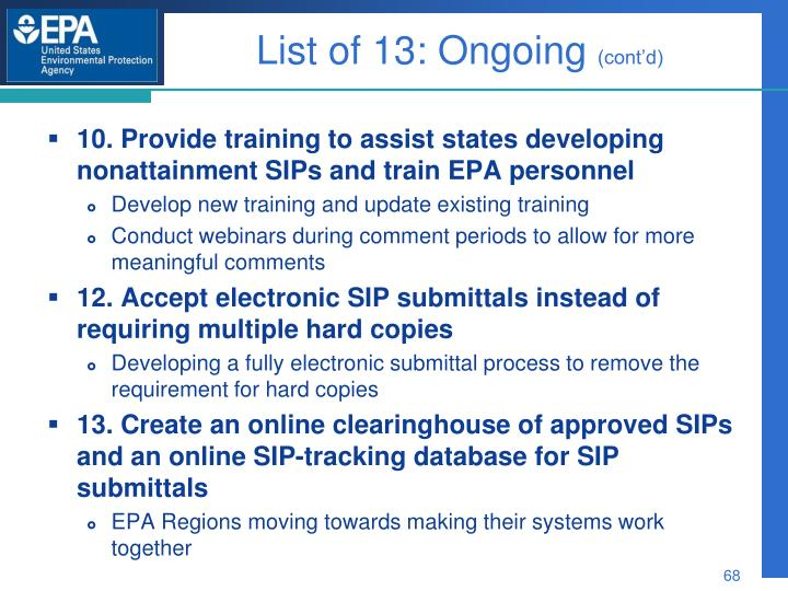 List of 13: Ongoing