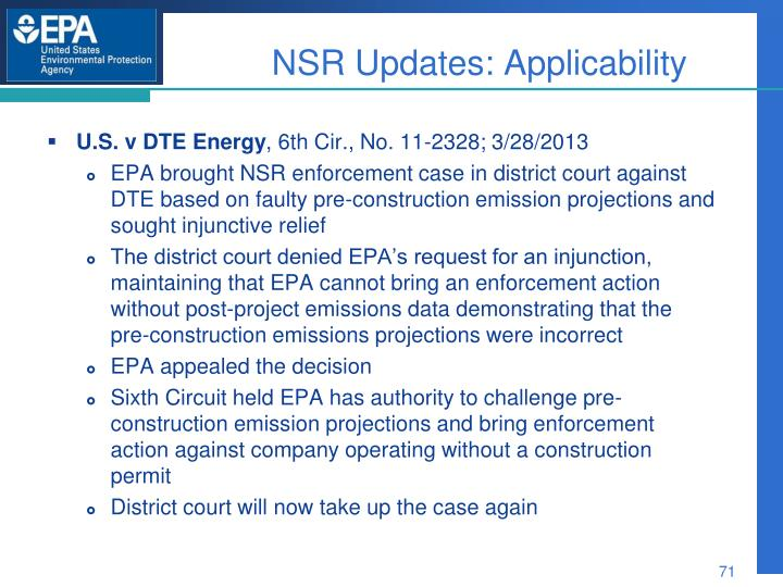 NSR Updates: Applicability