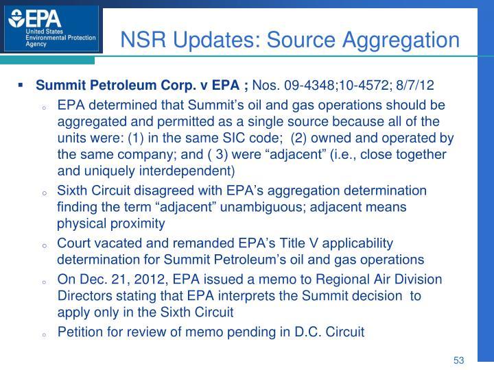 NSR Updates: Source Aggregation