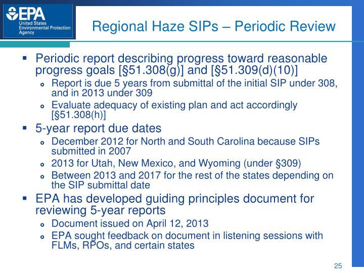 Regional Haze SIPs – Periodic Review