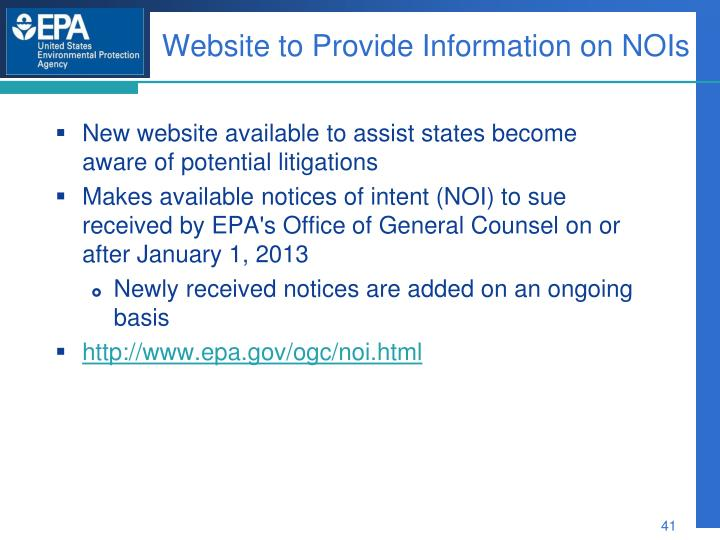Website to Provide Information on NOIs