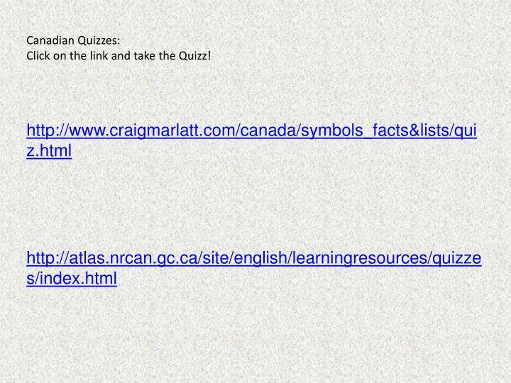 Canadian Quizzes:
