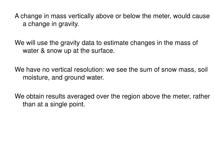 A change in mass vertically above or below the meter, would cause a change in gravity.