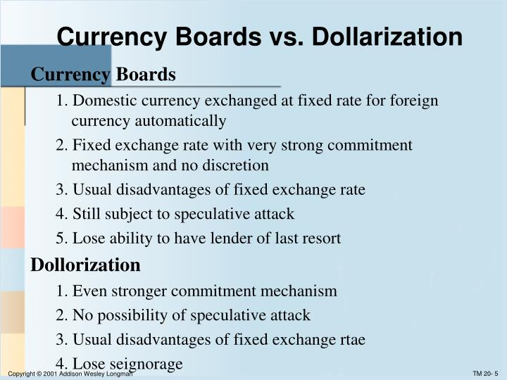 Currency Boards vs. Dollarization