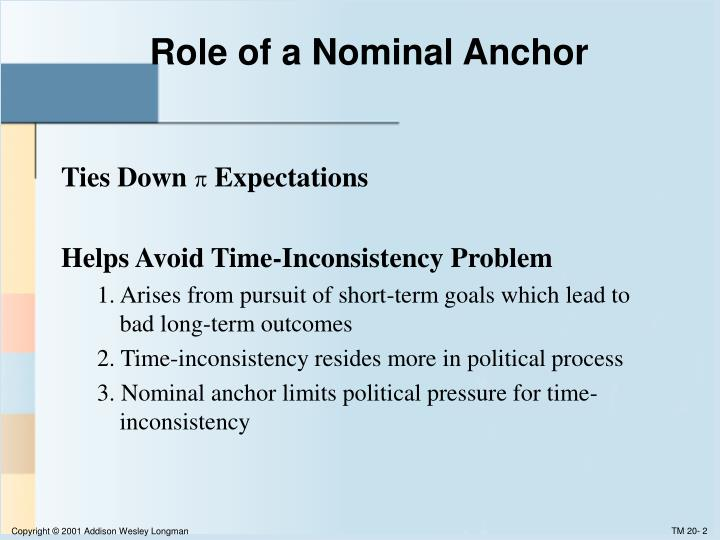 Role of a nominal anchor
