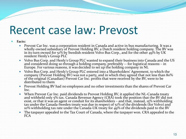 Recent case law: Prevost
