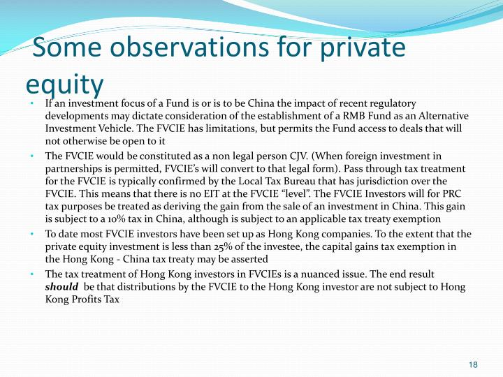 Some observations for private equity