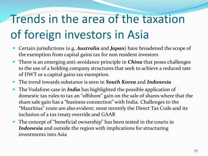 Trends in the area of the taxation of foreign investors in Asia