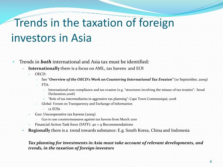 Trends in the taxation of foreign investors in Asia