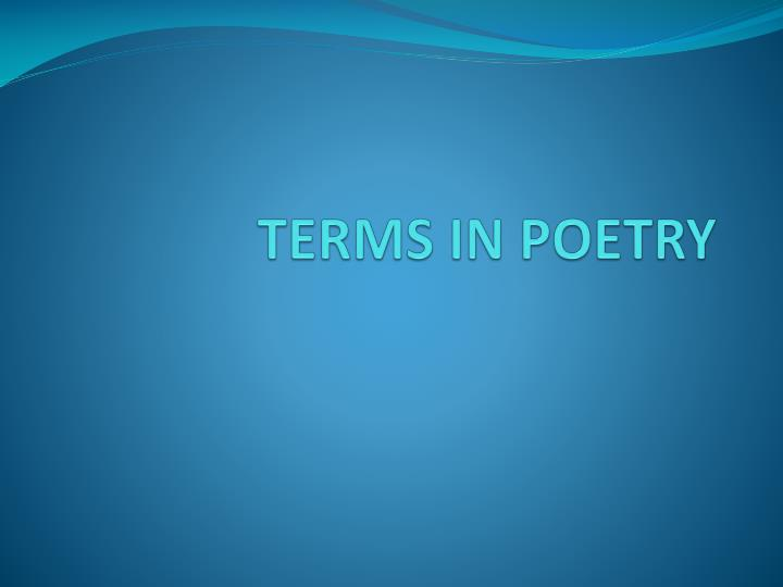 terms in poetry
