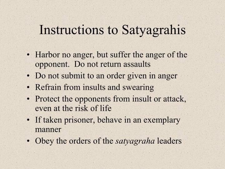 Instructions to Satyagrahis