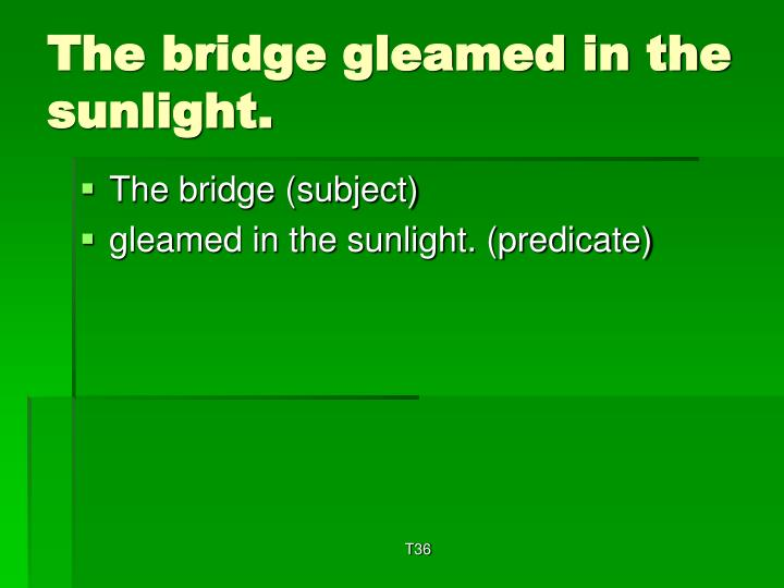The bridge gleamed in the sunlight.
