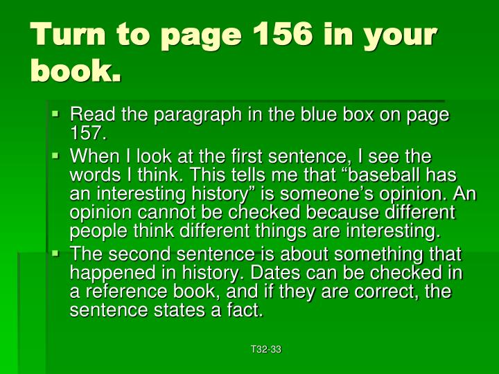 Turn to page 156 in your book.