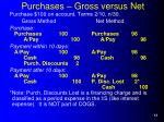 purchases gross versus net