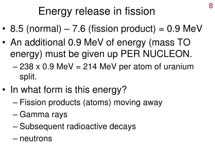 Energy release in fission