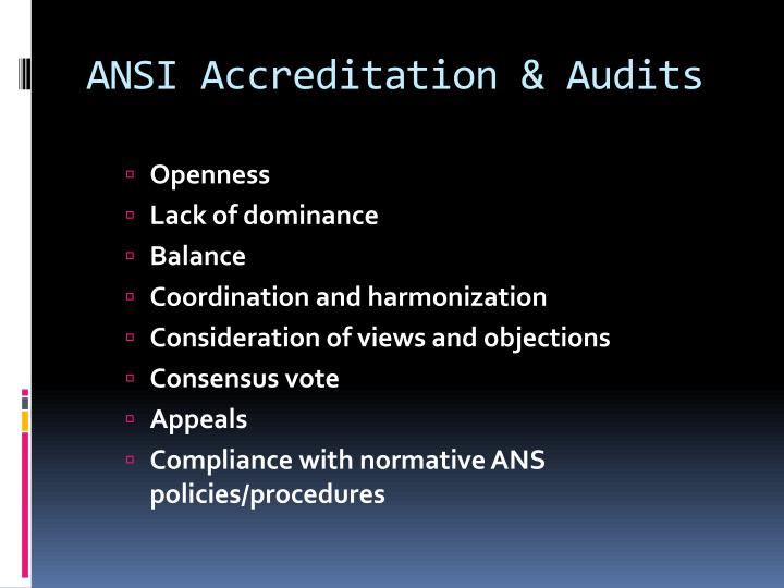 ANSI Accreditation & Audits