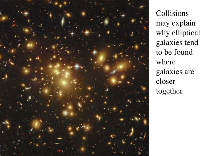 Collisions may explain why elliptical galaxies tend to be found where galaxies are closer together
