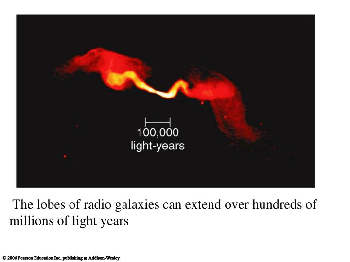 The lobes of radio galaxies can extend over hundreds of millions of light years