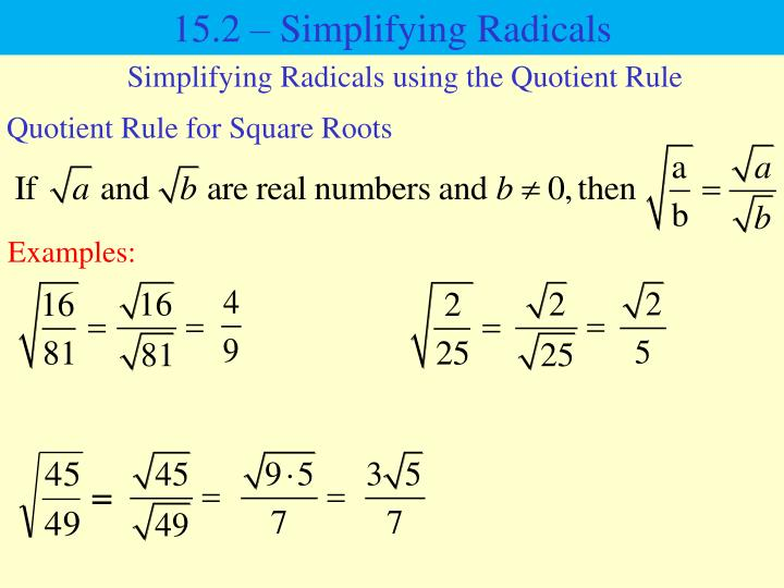 15.2 – Simplifying Radicals