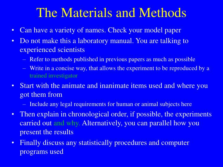 The Materials and Methods