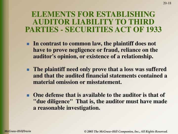 ELEMENTS FOR ESTABLISHING AUDITOR LIABILITY TO THIRD PARTIES - SECURITIES ACT OF 1933