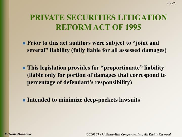 PRIVATE SECURITIES LITIGATION REFORM ACT OF 1995