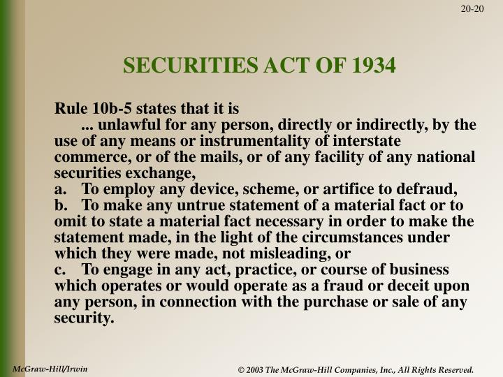SECURITIES ACT OF 1934