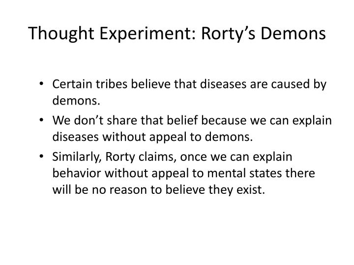 Thought experiment rorty s demons