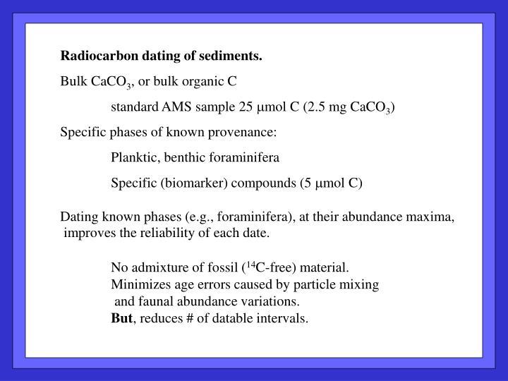 Radiocarbon dating of sediments.