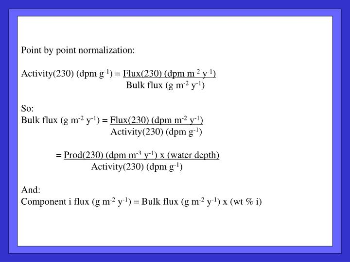 Point by point normalization: