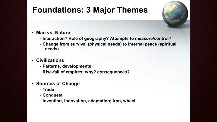 Foundations: 3 Major Themes