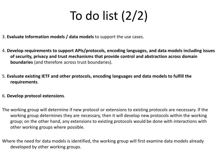 To do list (2/2)