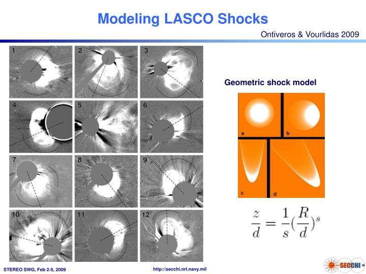 Modeling lasco shocks