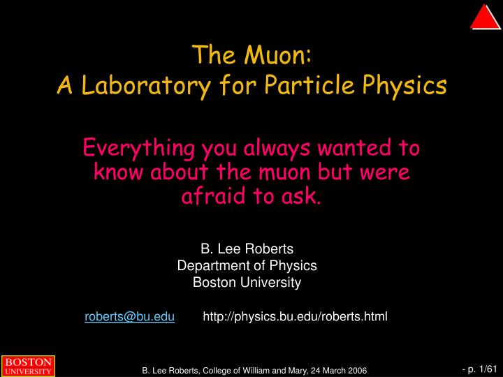 the muon a laboratory for particle physics n.