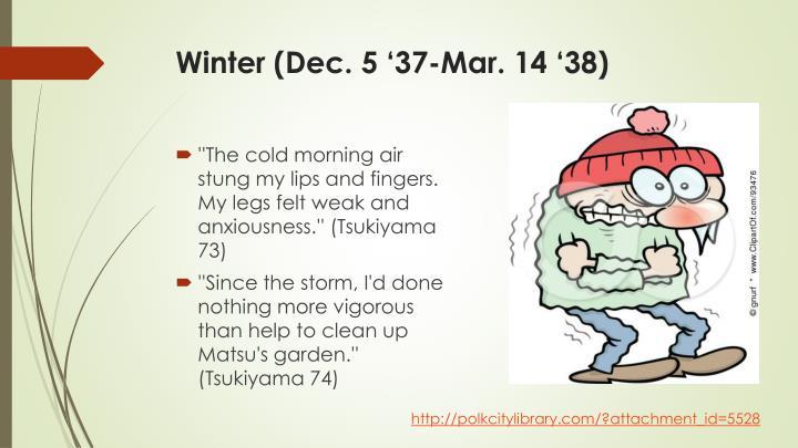 Winter (Dec. 5 '37-Mar. 14 '38)