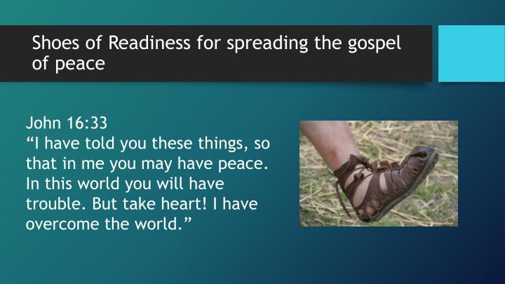 Shoes of Readiness for spreading the gospel of peace