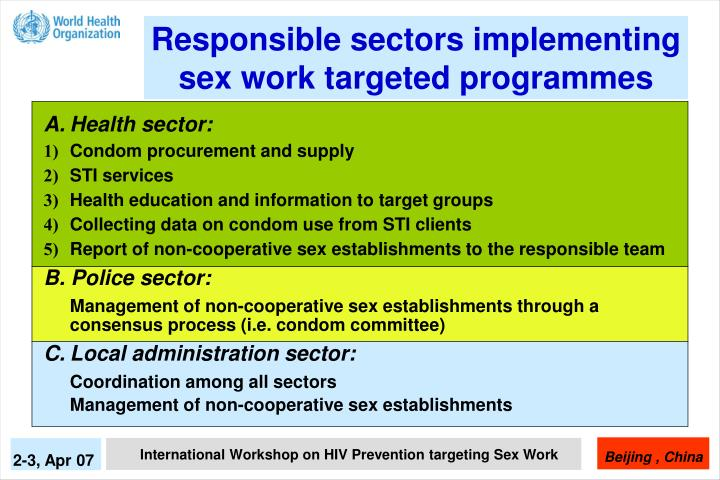 Responsible sectors implementing sex work targeted programmes