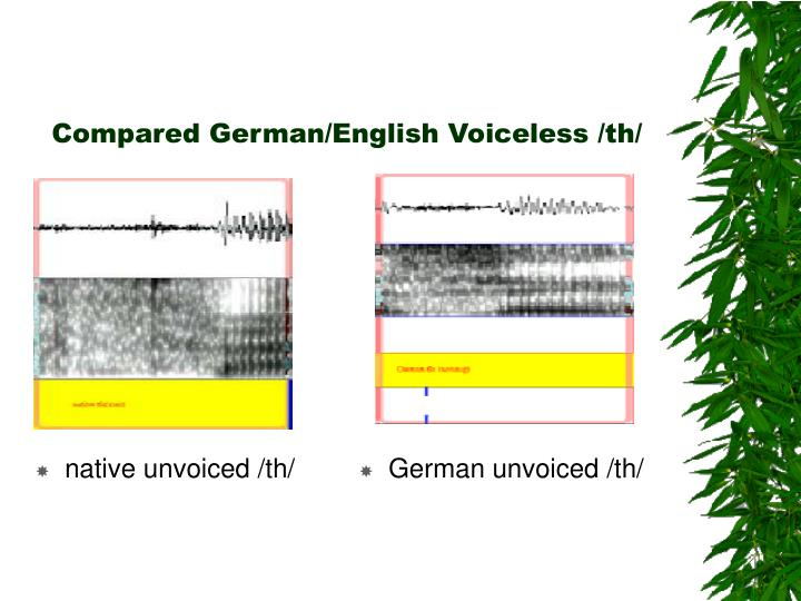 Compared German/English Voiceless /th/